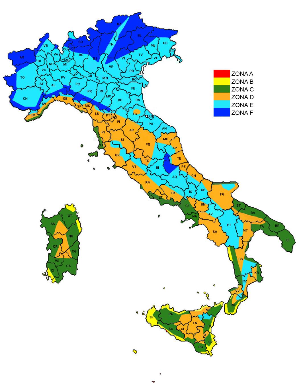 Cartina Italia Zone Climatiche.Le Zone Climatiche Italiane E I Periodi Di Accensione Degli Impianti Di Riscaldamento Luce E Gas Italia